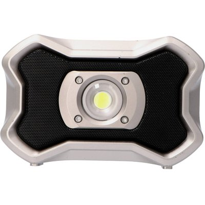 Oppladbar lyskaster med høyttalere