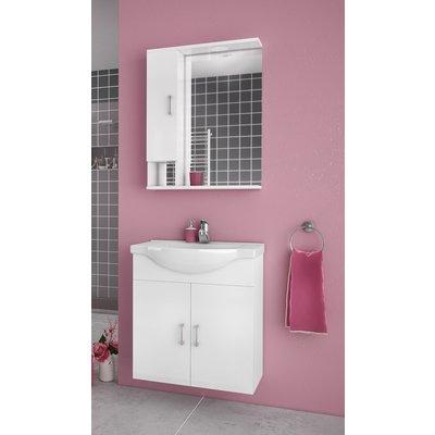 Møbelpakke Alba 65 Hvit med speilskap